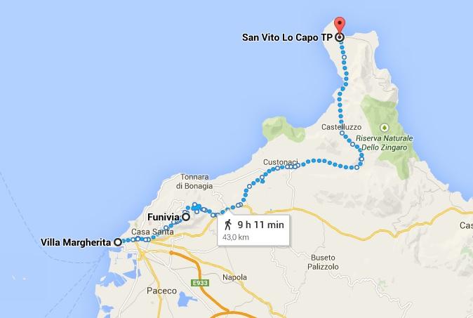 Mapa Trápani com pontos turísticos